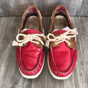 Sperry Red Patent Leather Topsider Boat Shoes ⛵️